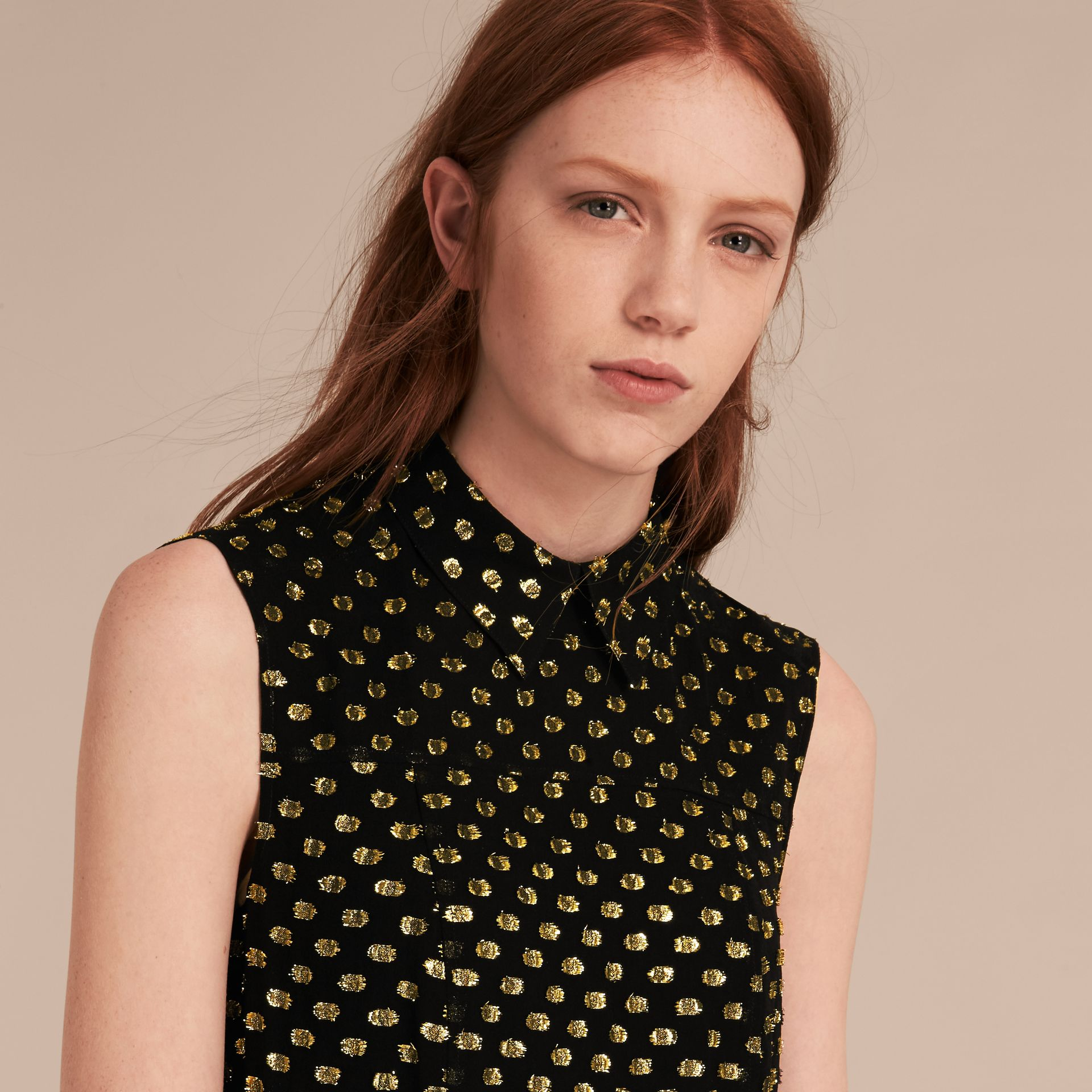 Gold/black Metallic Polka Dot Sleeveless Silk Shift Dress - gallery image 5