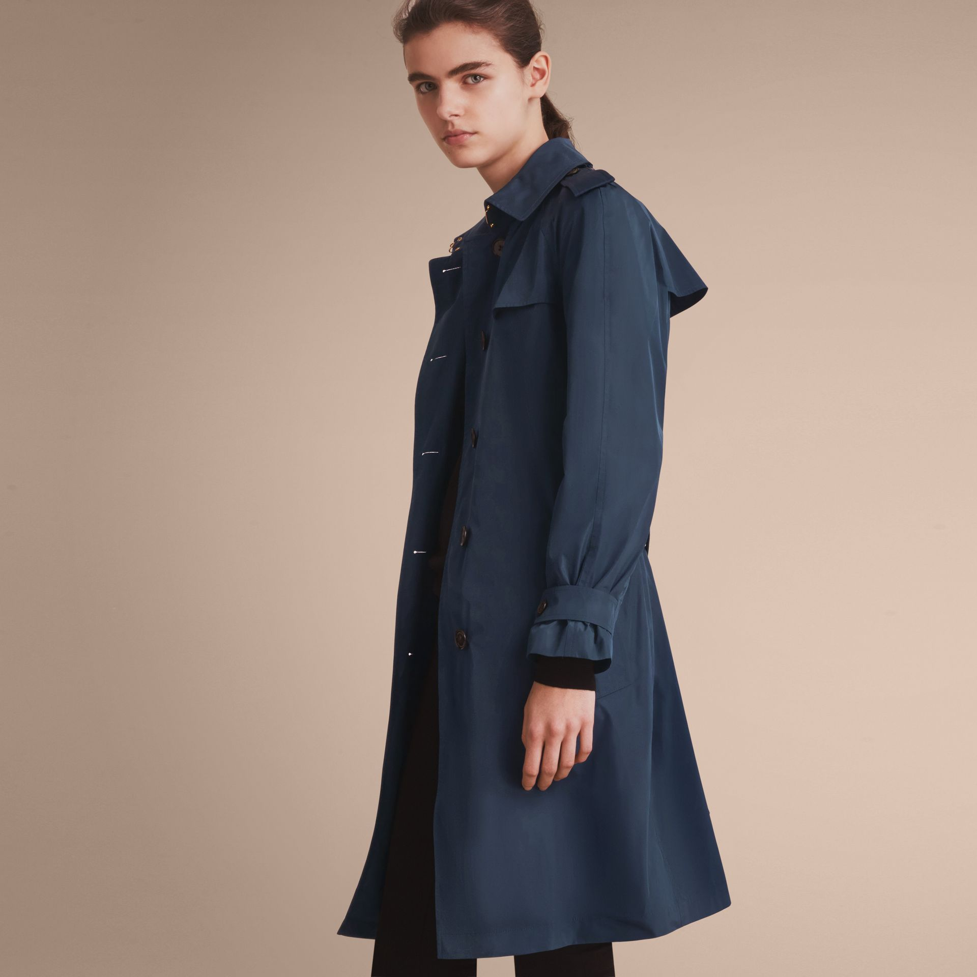 Single-breasted Technical Trench Coat Navy - gallery image 7