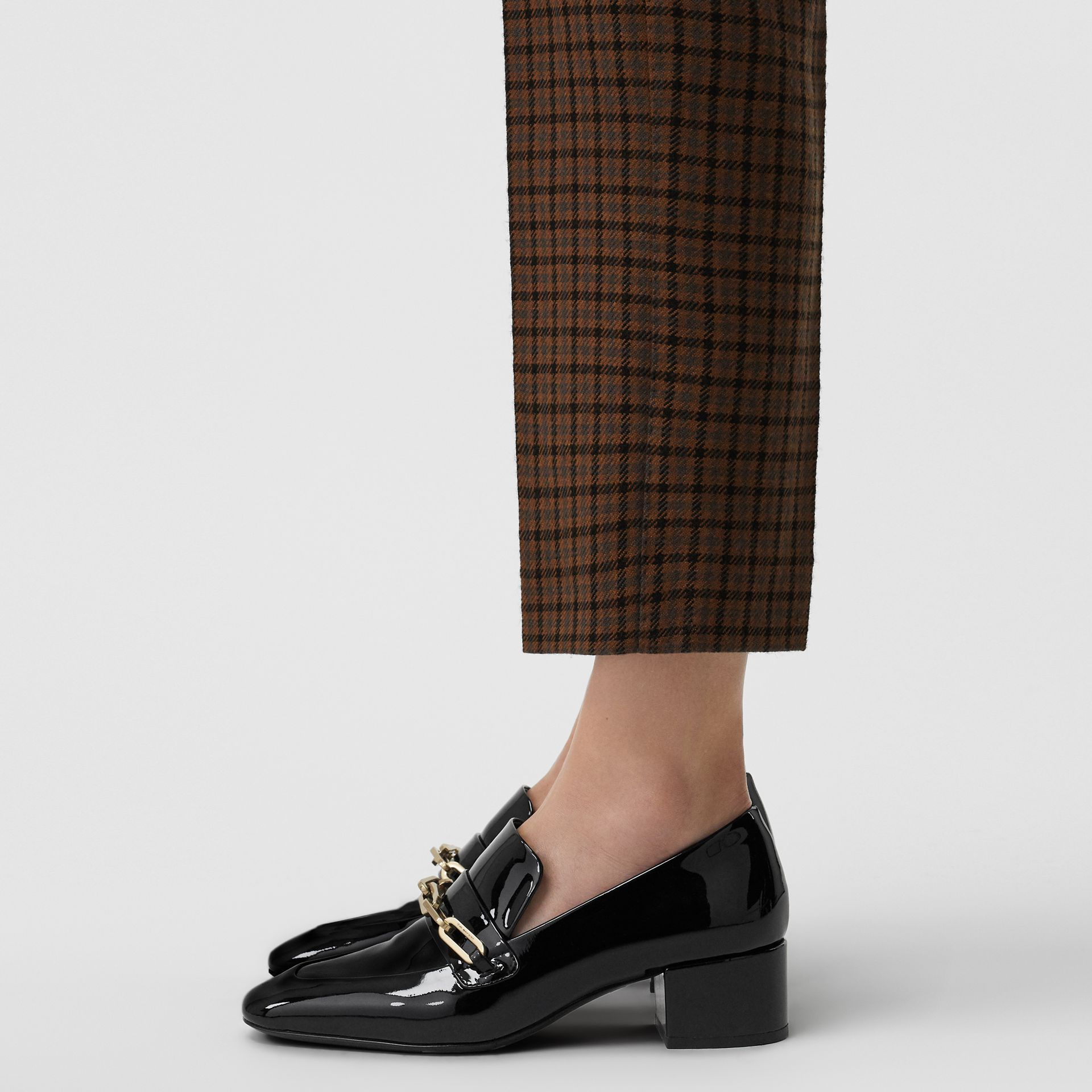 Link Detail Patent Leather Block-heel Loafers in Black - Women | Burberry United Kingdom - gallery image 2