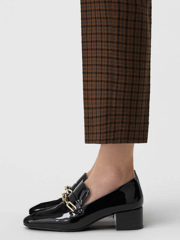 Link Detail Patent Leather Block-heel Loafers in Black - Women | Burberry - cell image 2