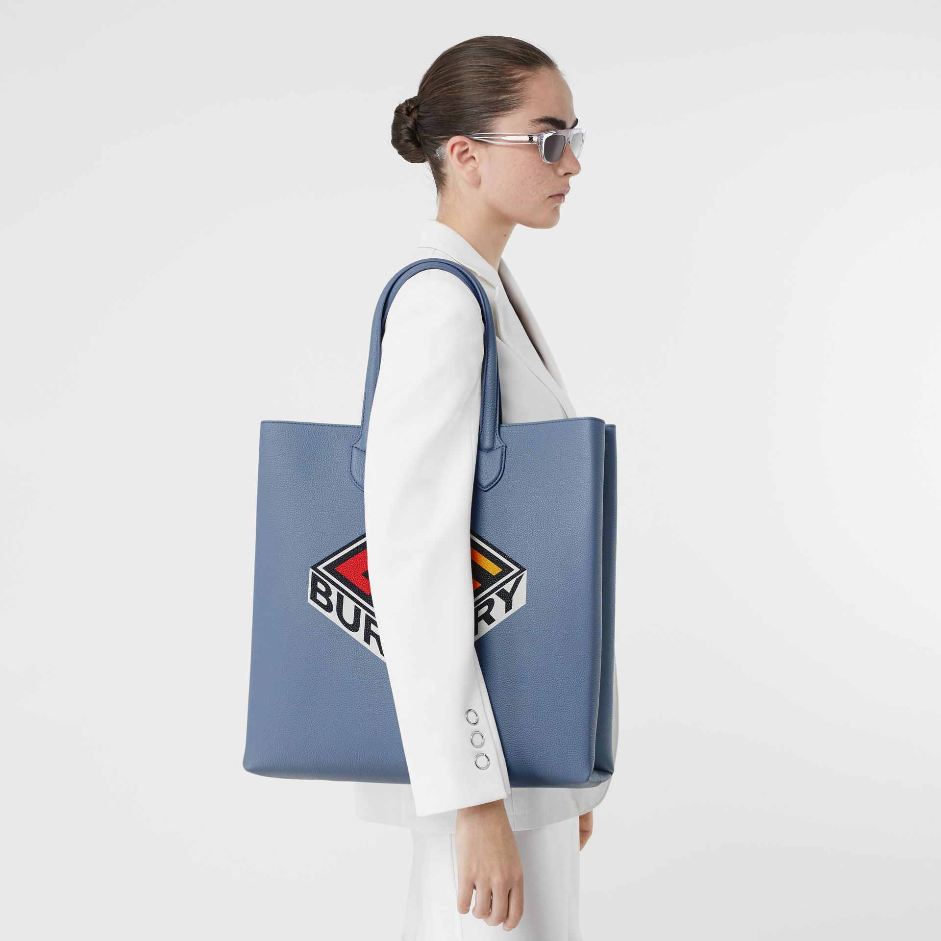 Large Logo Graphic Grainy Leather Tote in Baby Blue - Men | Burberry United Kingdom - gallery image 2