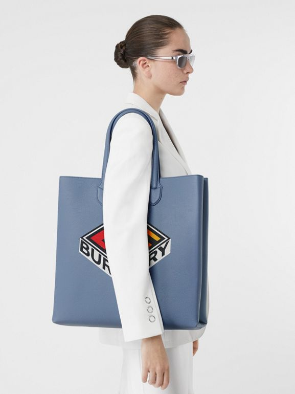 Large Logo Graphic Grainy Leather Tote in Baby Blue - Men | Burberry - cell image 1