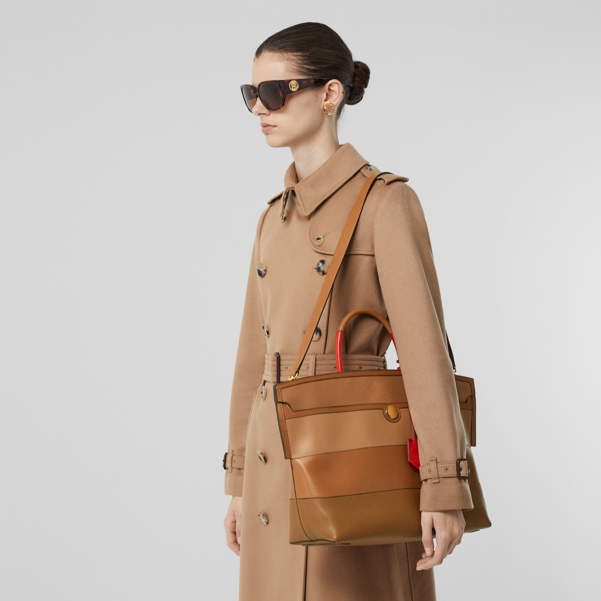 Panelled Leather Society Top Handle Bag in Warm Camel - Women | Burberry - gallery image 2