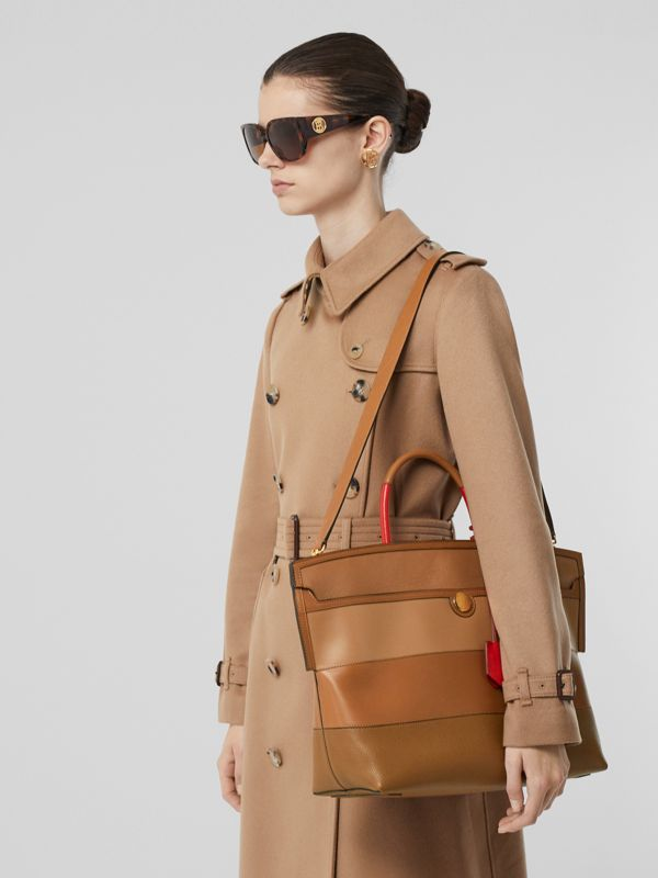 Panelled Leather Society Top Handle Bag in Warm Camel - Women | Burberry - cell image 2