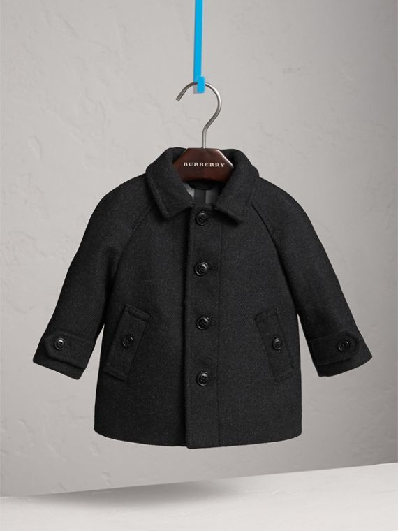 Wool Cashmere Blend Car Coat in Dark Grey Melange