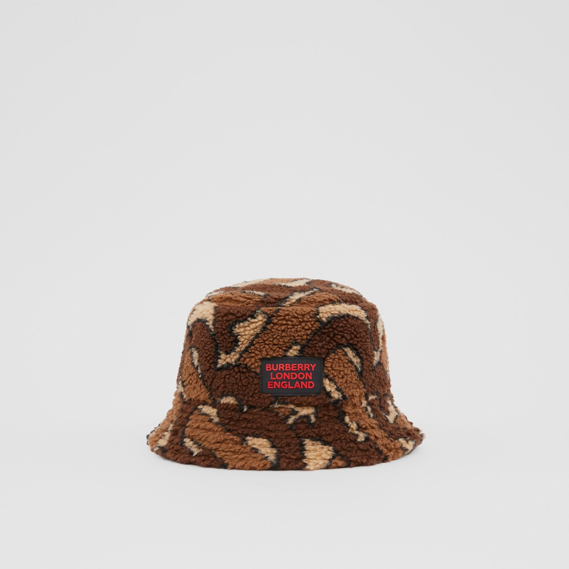 Monogram Fleece Bucket Hat in Bridle Brown | Burberry - gallery image 3
