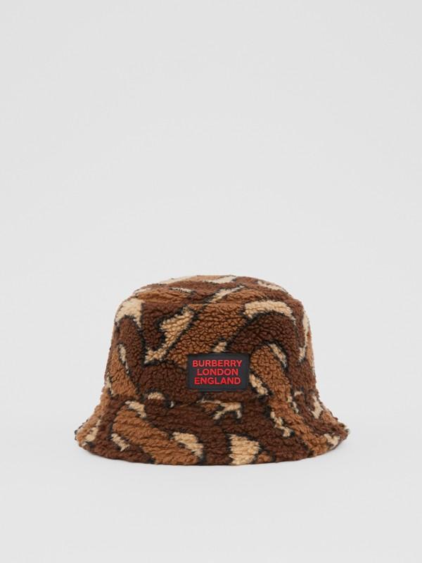 Monogram Fleece Bucket Hat in Bridle Brown | Burberry - cell image 3