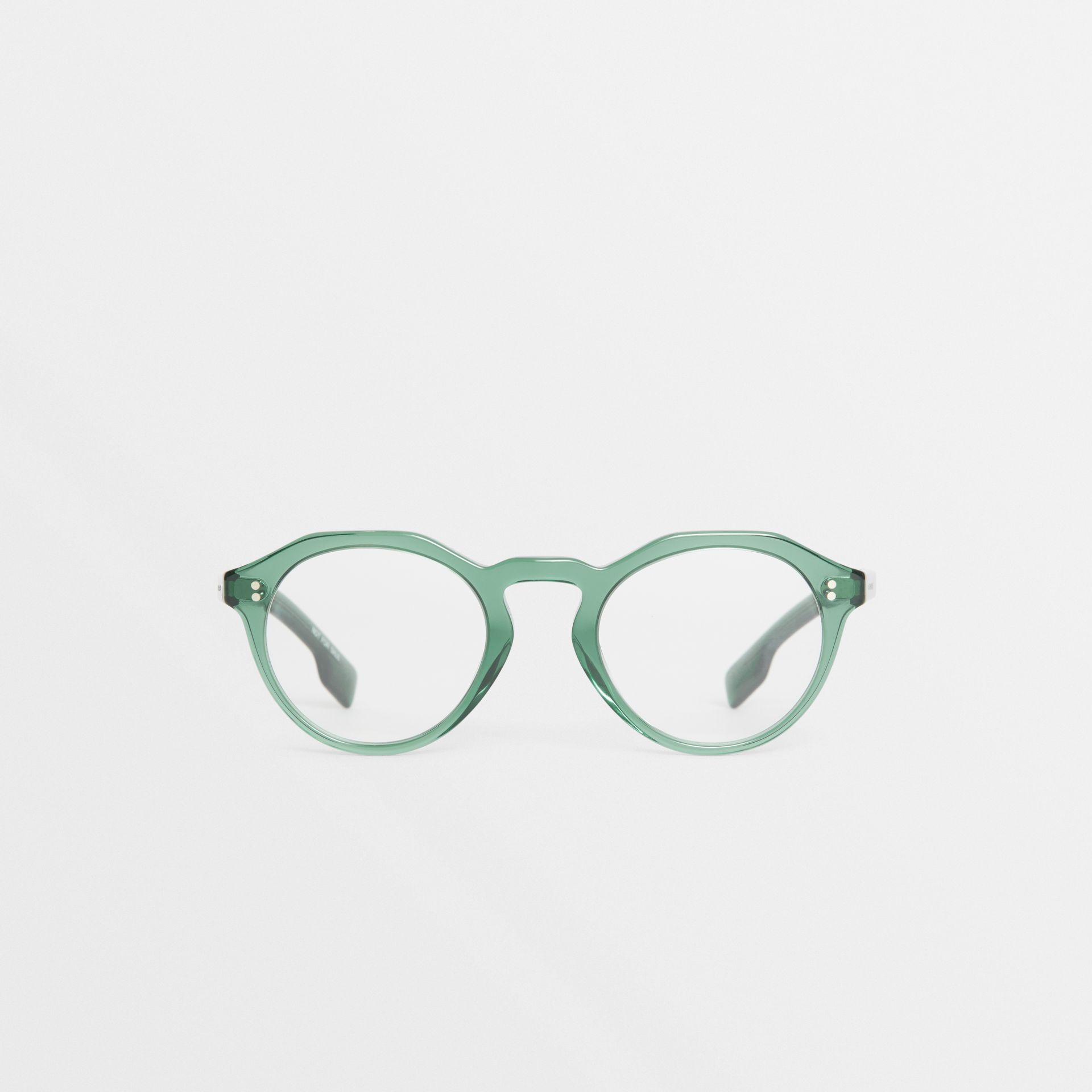 Keyhole Round Optical Frames in Green - Men | Burberry - gallery image 0