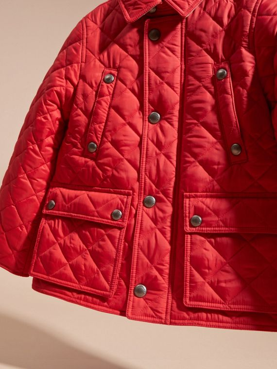 Detachable Hood Lightweight Quilted Jacket in Bright Cherry Red - Boy | Burberry - cell image 2