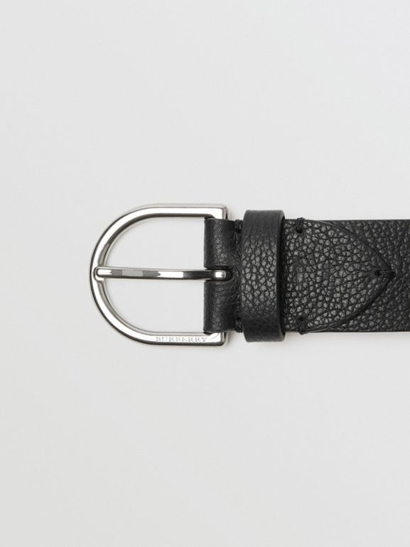 D-shaped Buckle Grainy Leather Belt in Black - Men | Burberry Singapore - cell image 1