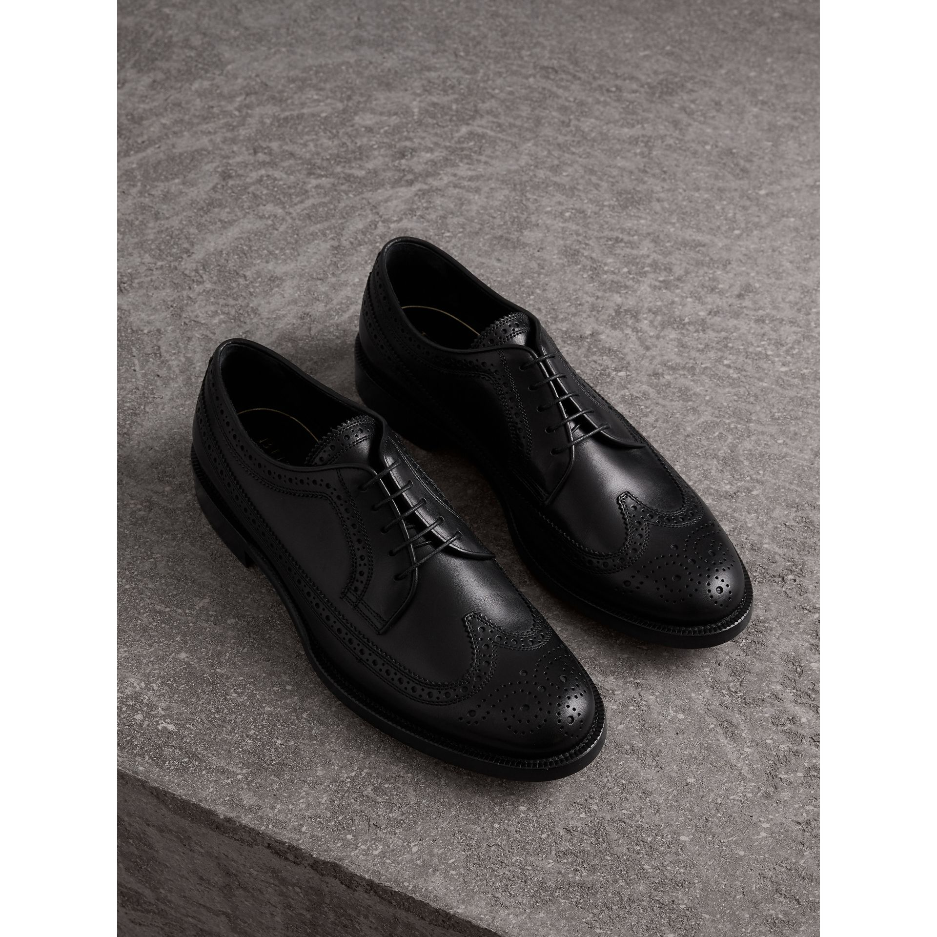 Leather Derby Brogues in Black - Men | Burberry - gallery image 1
