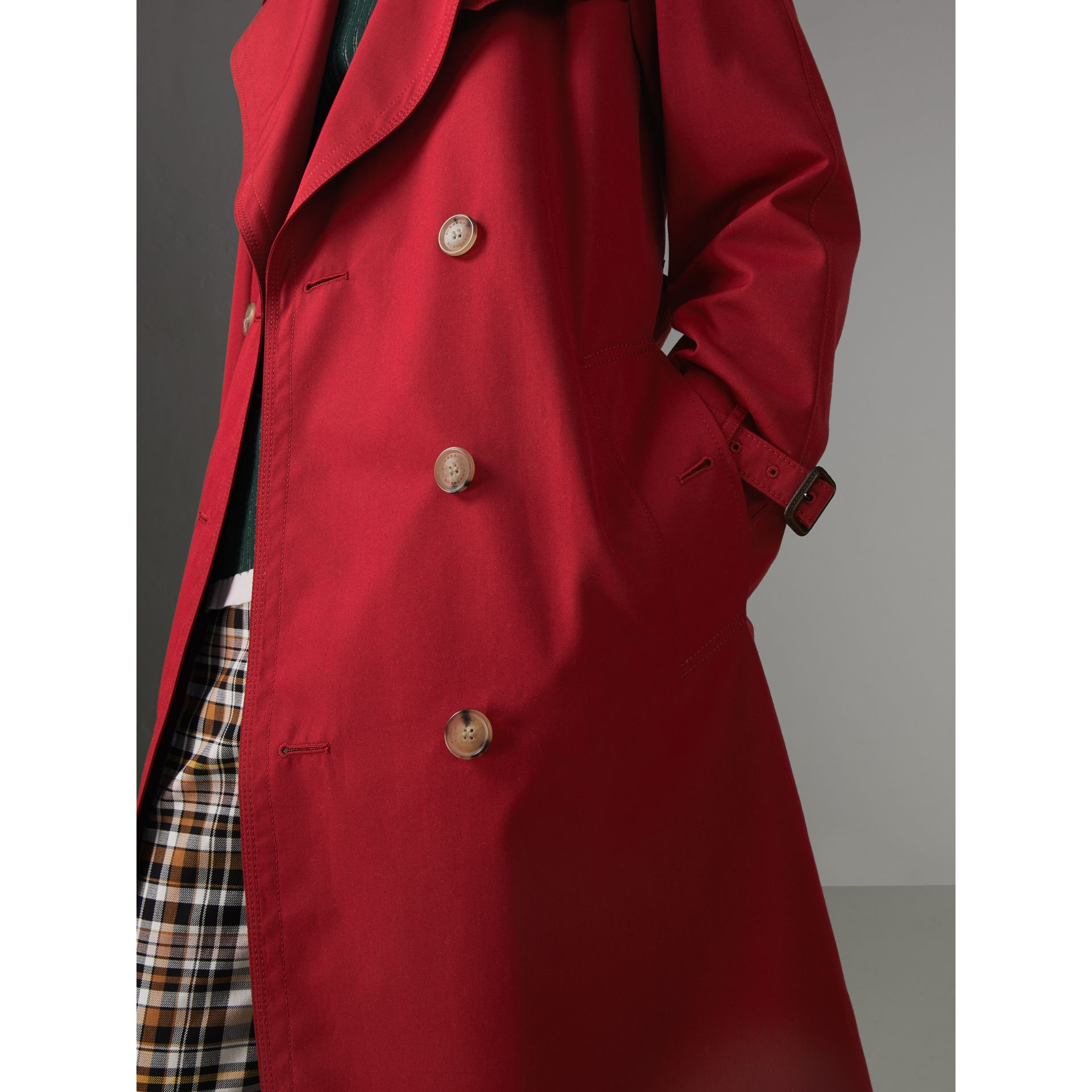 Oversized Lapel Cotton Gabardine Trench Coat in Parade Red - Women | Burberry - gallery image 1