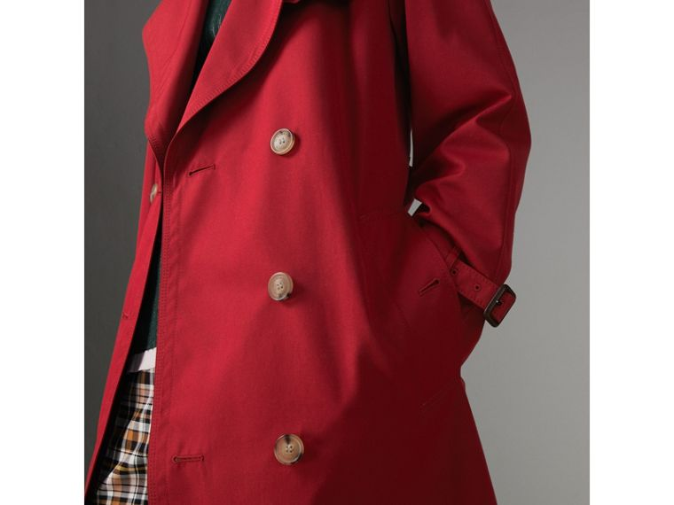 Oversized Lapel Cotton Gabardine Trench Coat in Parade Red - Women | Burberry - cell image 1