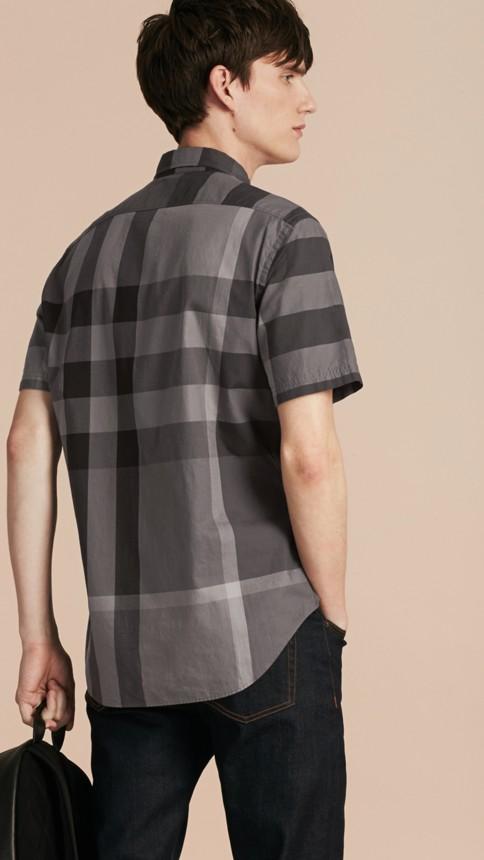 Charcoal Short-sleeved Check Cotton Shirt Charcoal - Image 3