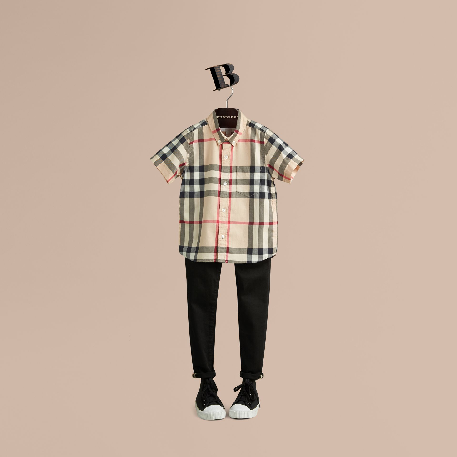 New classic Short-sleeve Check Cotton Twill Shirt New Classic - gallery image 1