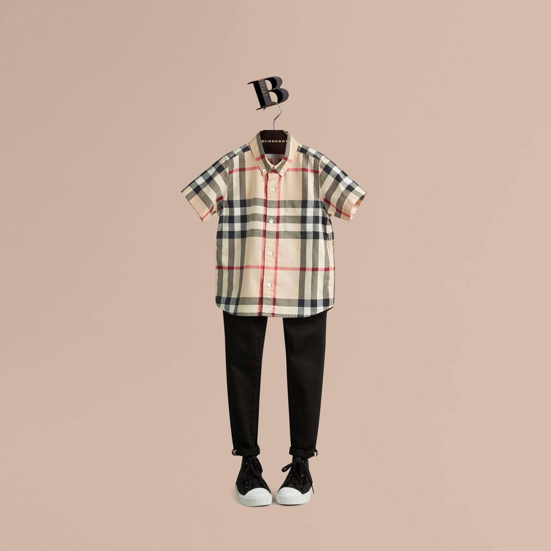 New classic Camicia a maniche corte in twill di cotone con motivo check New Classic - immagine della galleria 1