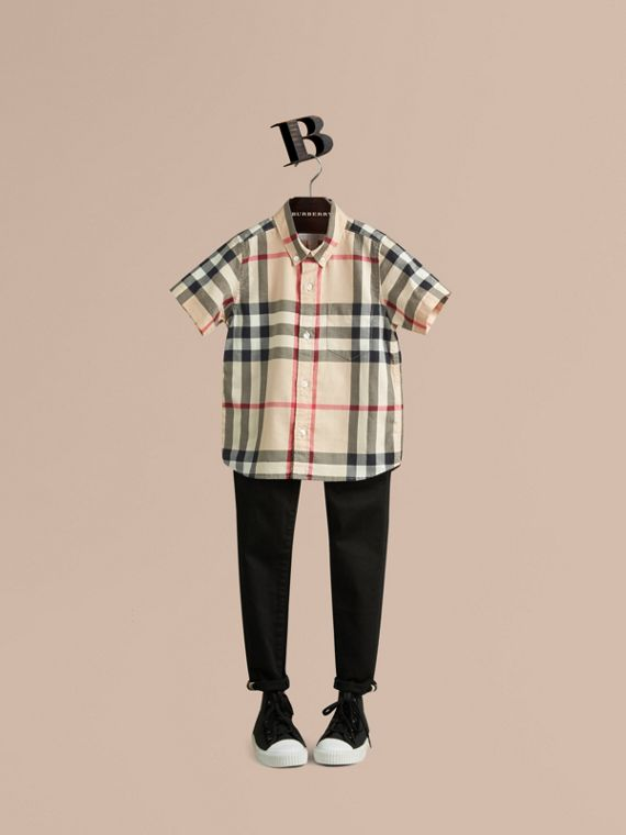 Short-sleeve Check Cotton Twill Shirt New Classic