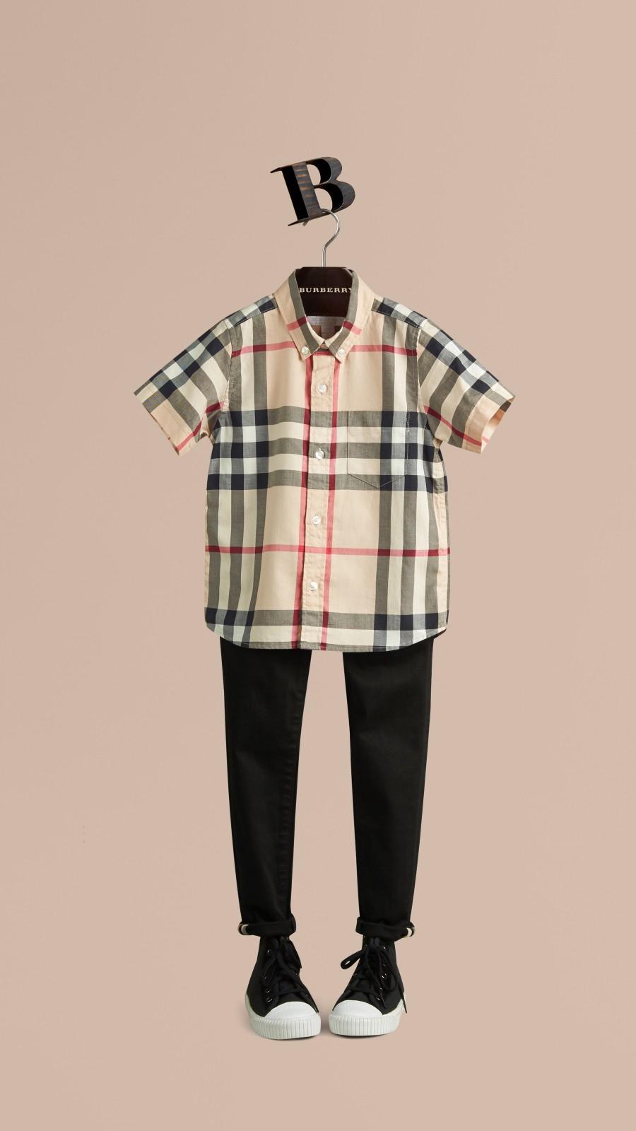 Nouveau check classique Chemise en sergé de coton à manches courtes avec motif check Nouveau  Classique - Image 1