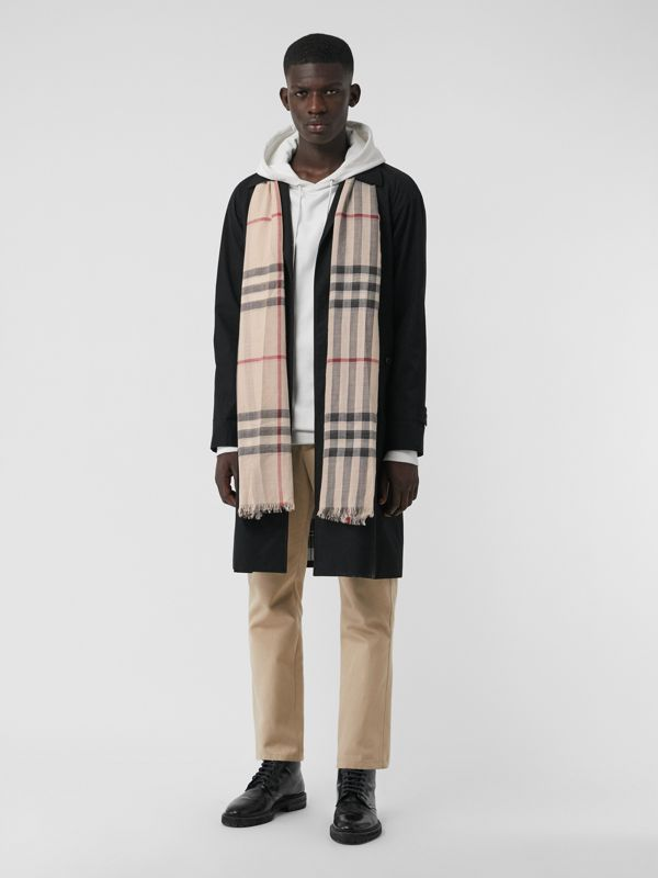 Lightweight Check Wool and Silk Scarf in Stone | Burberry United Kingdom - cell image 3