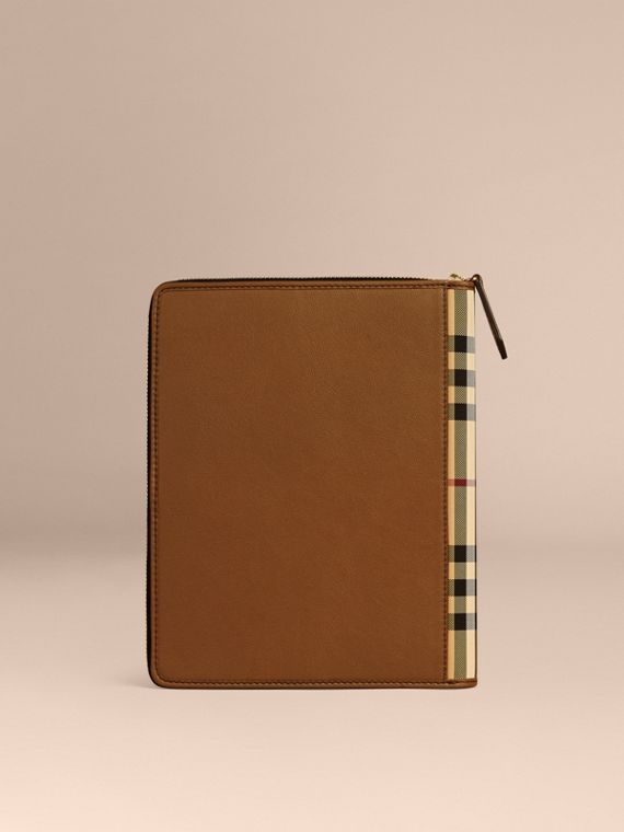 Tan Ziparound Leather and House Check A5 Notebook - cell image 3