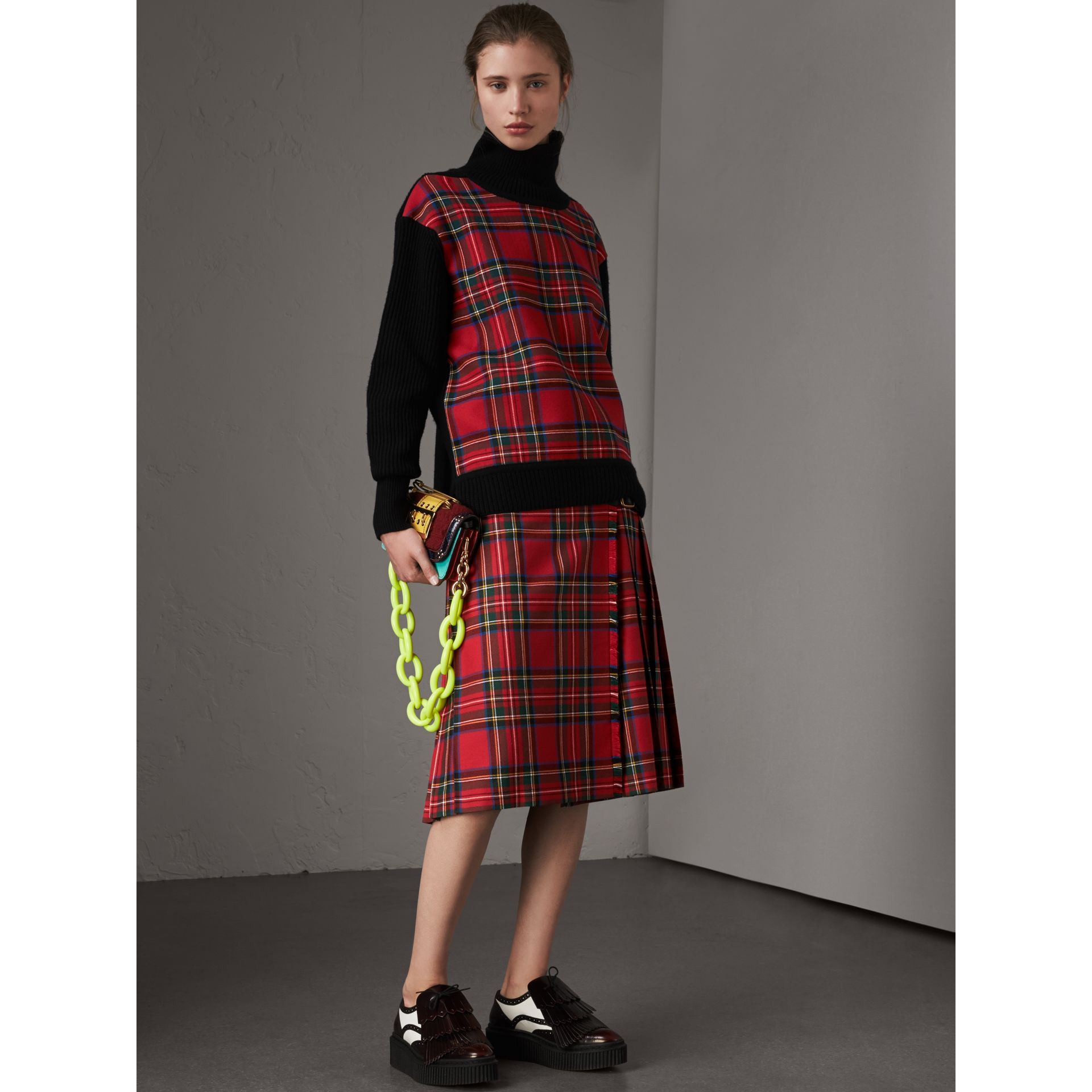 Tartan Panel Wool Cashmere Roll-neck Sweater in Red/navy - Women | Burberry United Kingdom - gallery image 4