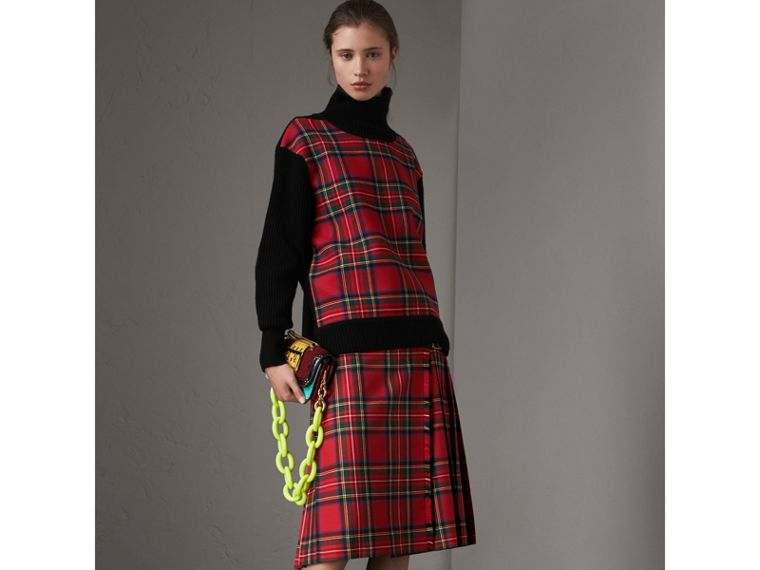 Tartan Panel Wool Cashmere Turtleneck Sweater in Red/navy - Women | Burberry - cell image 4