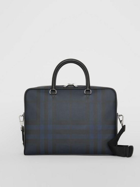 Grand attaché-case à motif London check (Marine/noir)