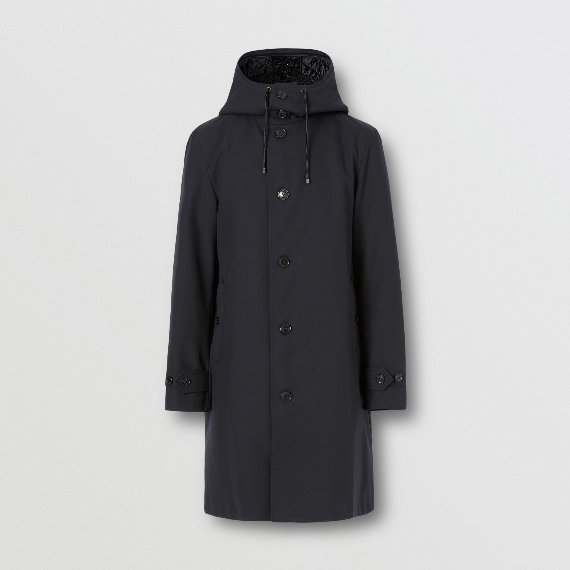 Cotton Gabardine Coat with Detachable Warmer in Midnight - Men | Burberry - gallery image 3
