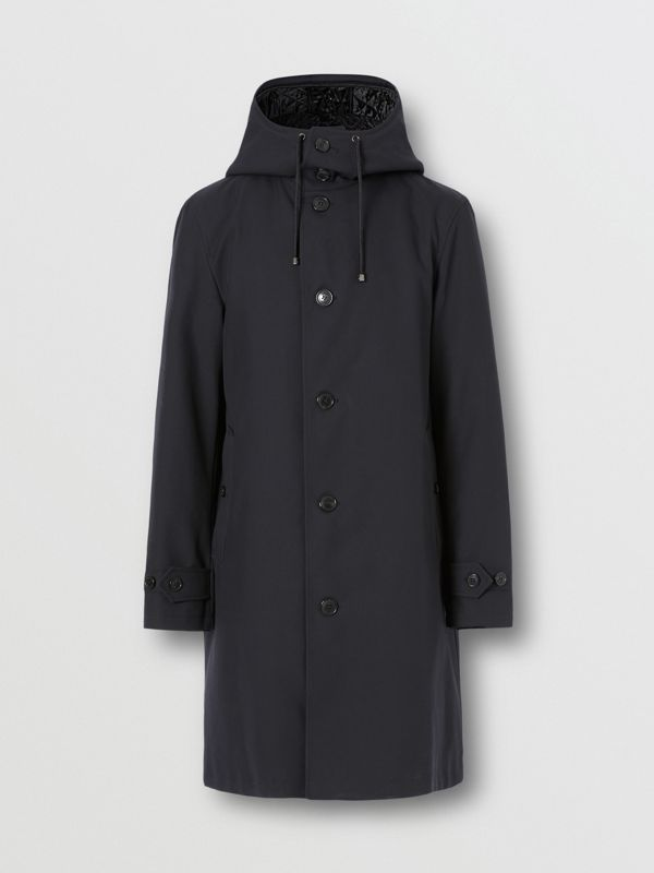 Cotton Gabardine Coat with Detachable Warmer in Midnight - Men | Burberry - cell image 3