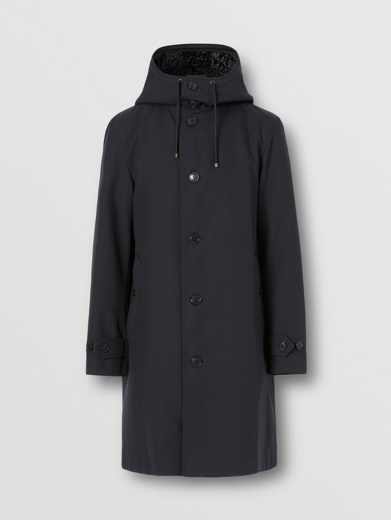 Cotton Gabardine Coat with Detachable Warmer in Midnight