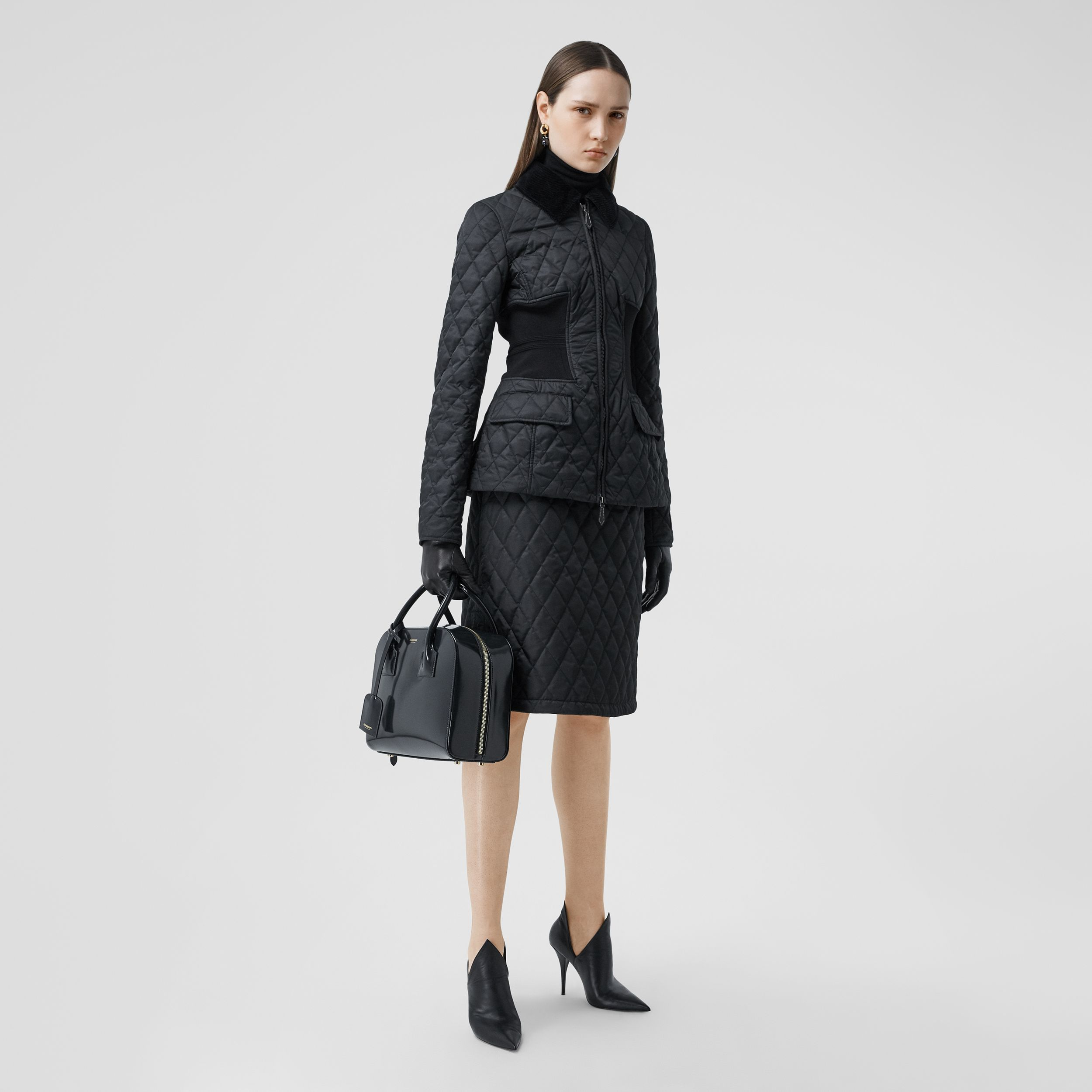 Rib Knit Panel Diamond Quilted Barn Jacket in Black - Women | Burberry - 1