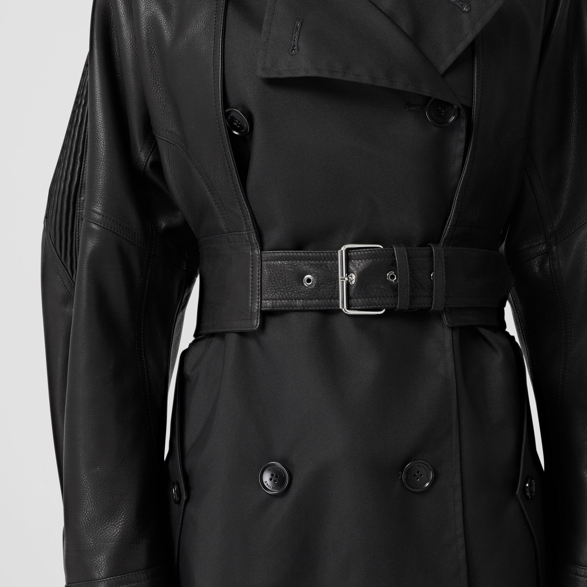ECONYL® Trench Coat with Detachable Leather Jacket in Black - Women | Burberry - gallery image 4