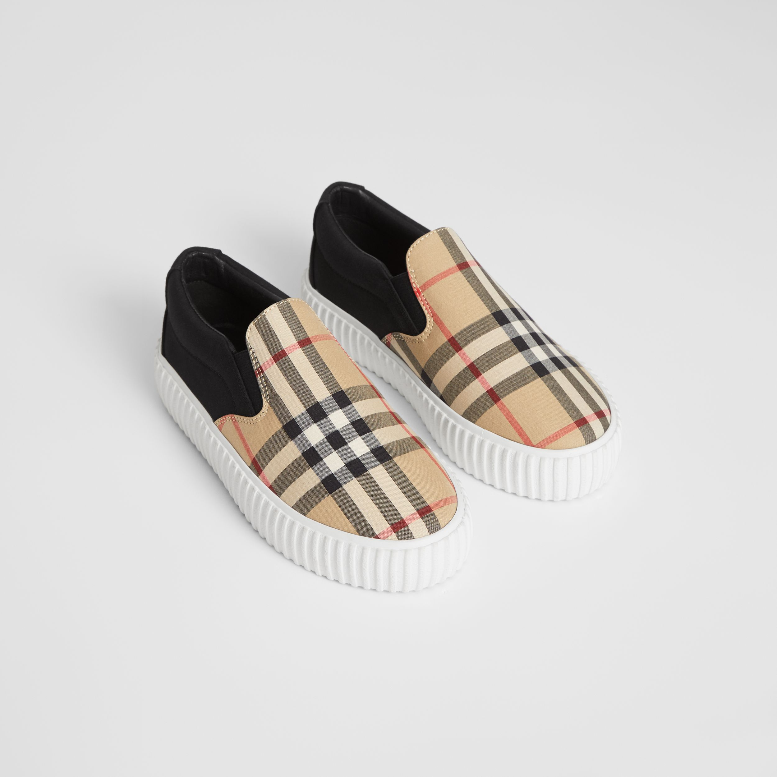 Vintage Check Detail Cotton Slip-on Sneakers in Archive Beige/black - Children | Burberry - 1
