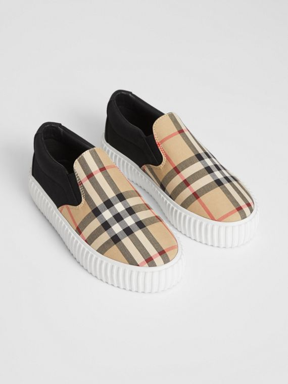 Vintage Check Detail Cotton Slip-on Sneakers in Archive Beige/black
