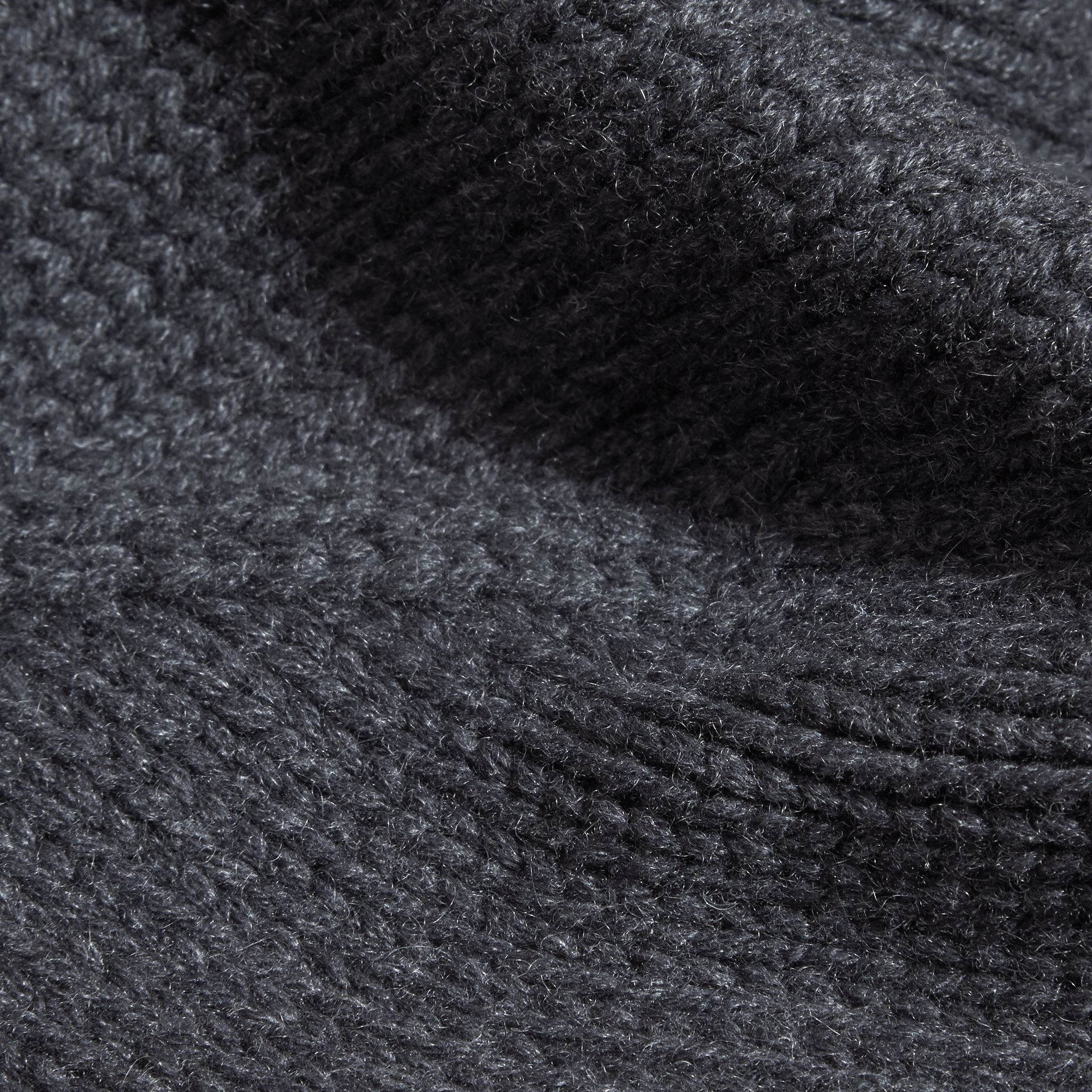 Charcoal Knitted Cashmere Beanie - gallery image 2