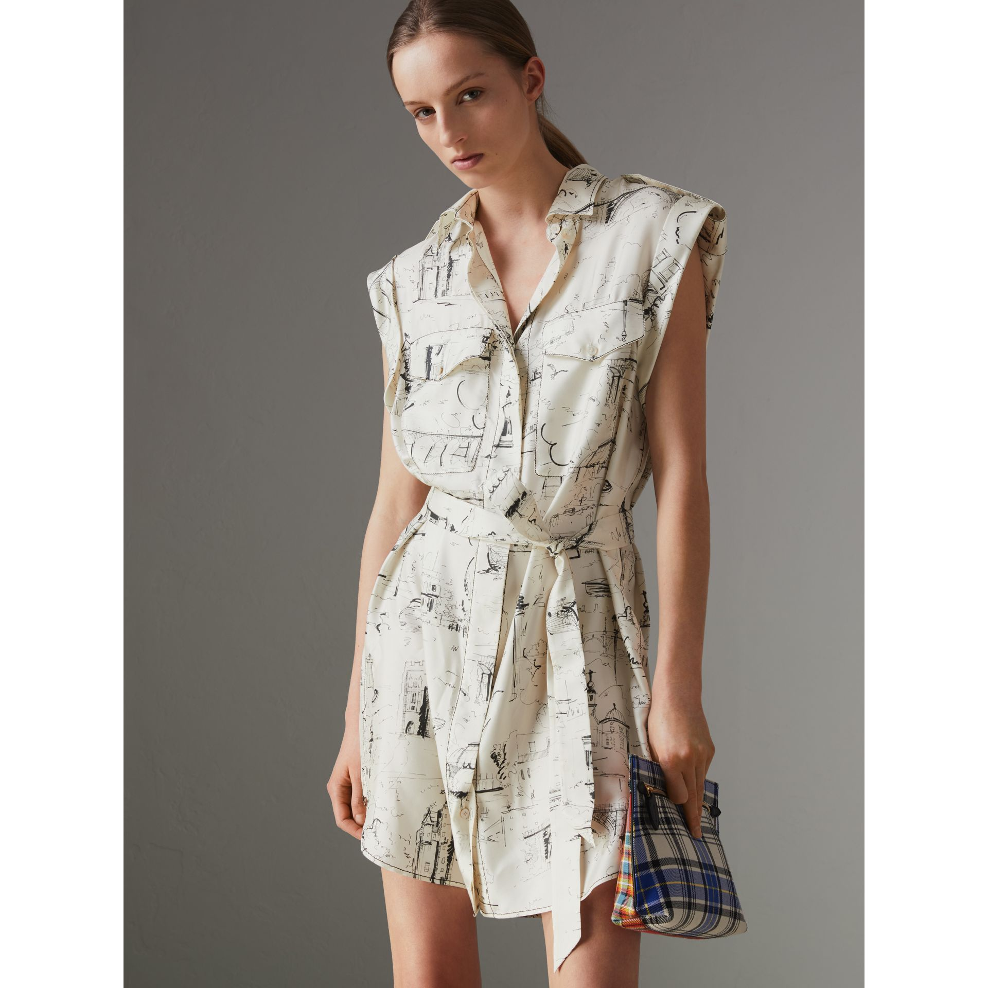 Landmark Print Silk Shirt Dress in Off White/ Black - Women | Burberry - gallery image 4
