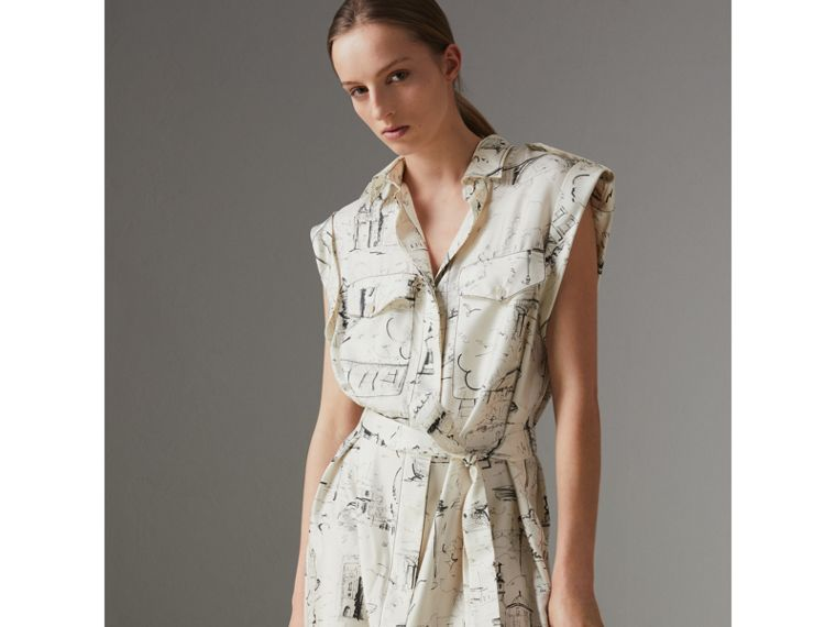 Landmark Print Silk Shirt Dress in Off White/ Black - Women | Burberry - cell image 4