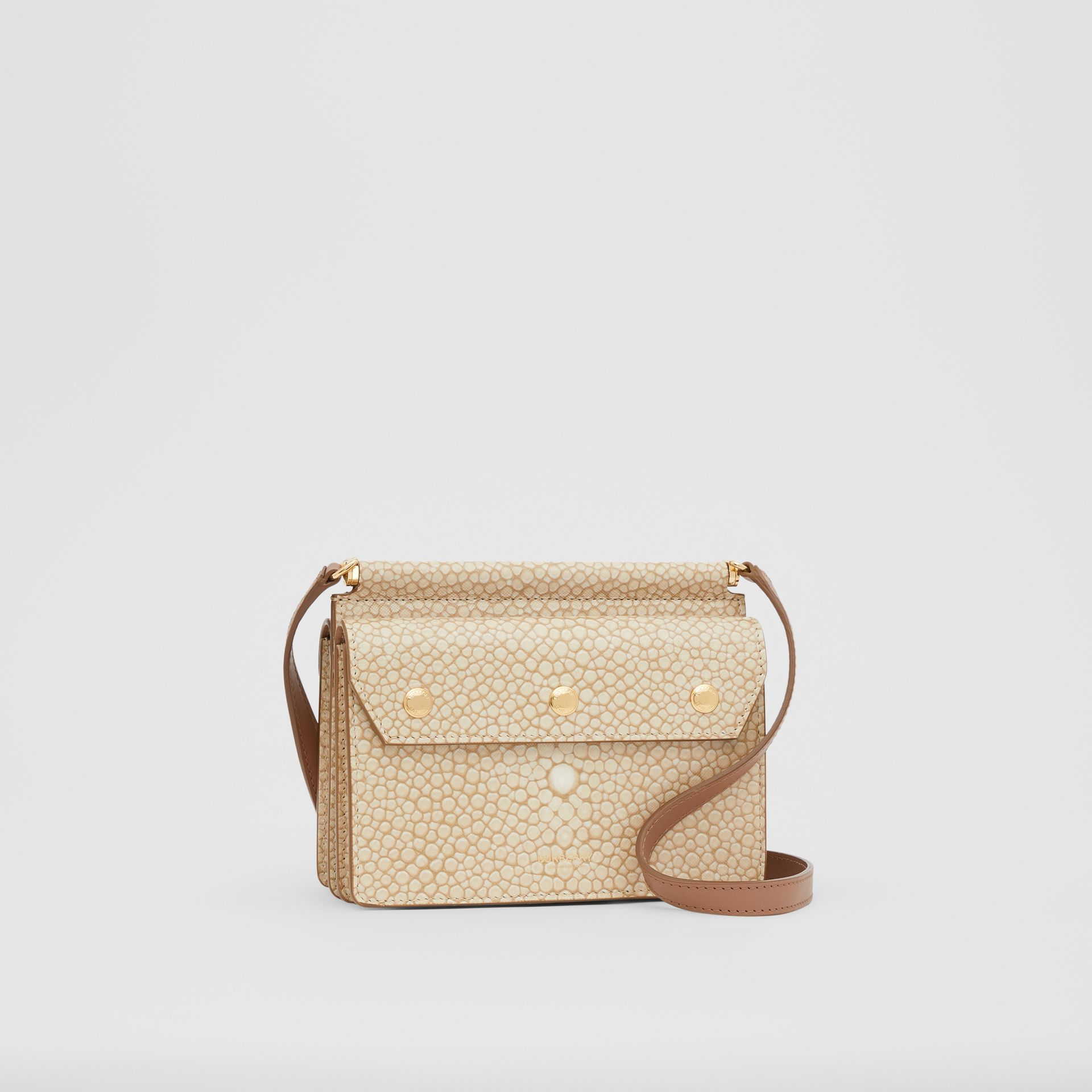 Mini Fish-scale Print Title Bag with Pocket Detail in Light Sand - Women | Burberry - gallery image 4