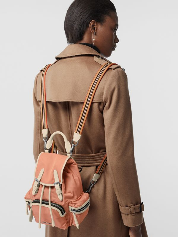 The Small Crossbody Rucksack in Nylon in Powder Pink - Women | Burberry - cell image 3