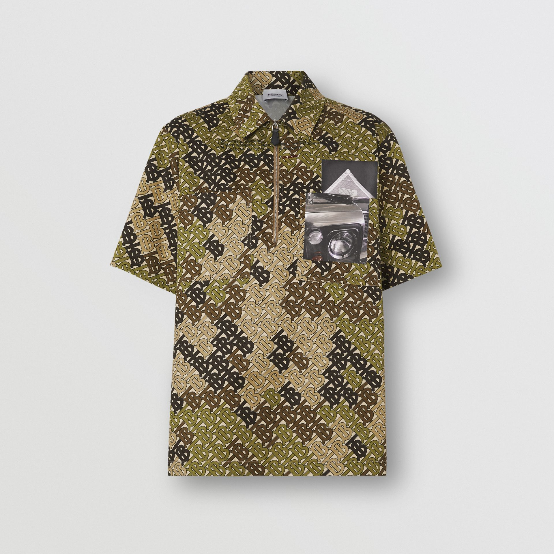 Short-sleeve Monogram Print Cotton Shirt in Khaki Green - Women | Burberry United Kingdom - gallery image 3