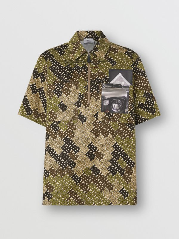 Short-sleeve Monogram Print Cotton Shirt in Khaki Green - Women | Burberry - cell image 3