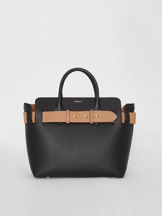 Bolsa Belt de couro com tachas - Pequena (Preto)