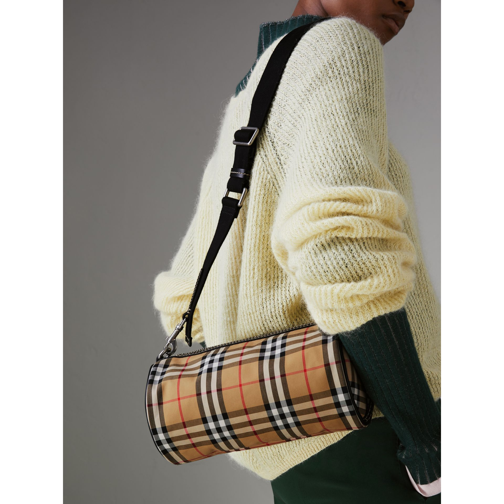 The Small Vintage Check and Leather Barrel Bag in Antique Yellow - Women | Burberry United States - gallery image 3