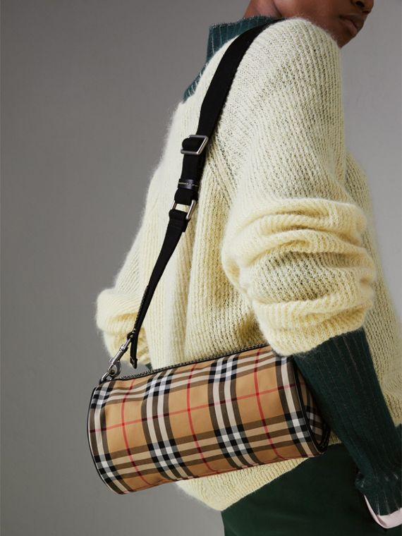 The Small Vintage Check and Leather Barrel Bag in Antique Yellow - Women | Burberry - cell image 3