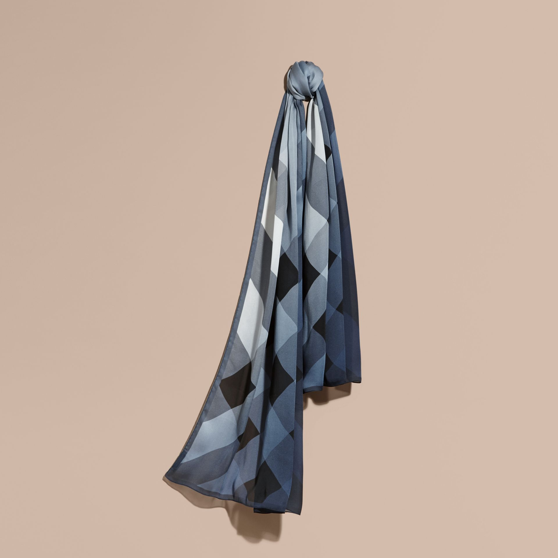 Ombré Washed Check Silk Scarf Dusty Blue - gallery image 1