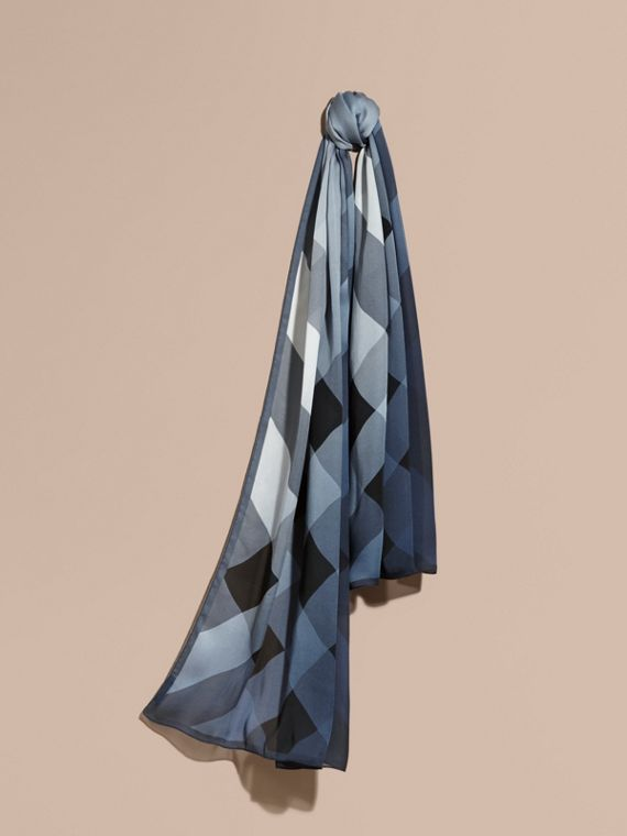 Ombré Washed Check Silk Scarf Dusty Blue