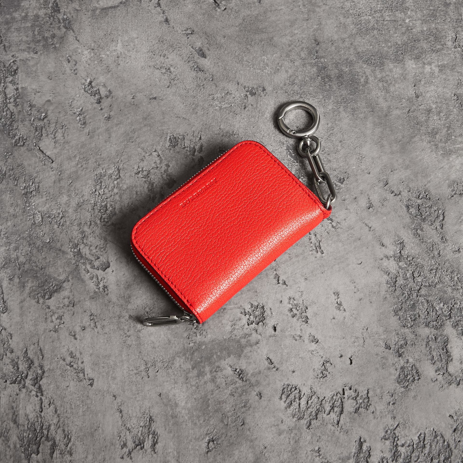 Link Detail Leather Ziparound Wallet in Bright Red | Burberry Australia - gallery image 0
