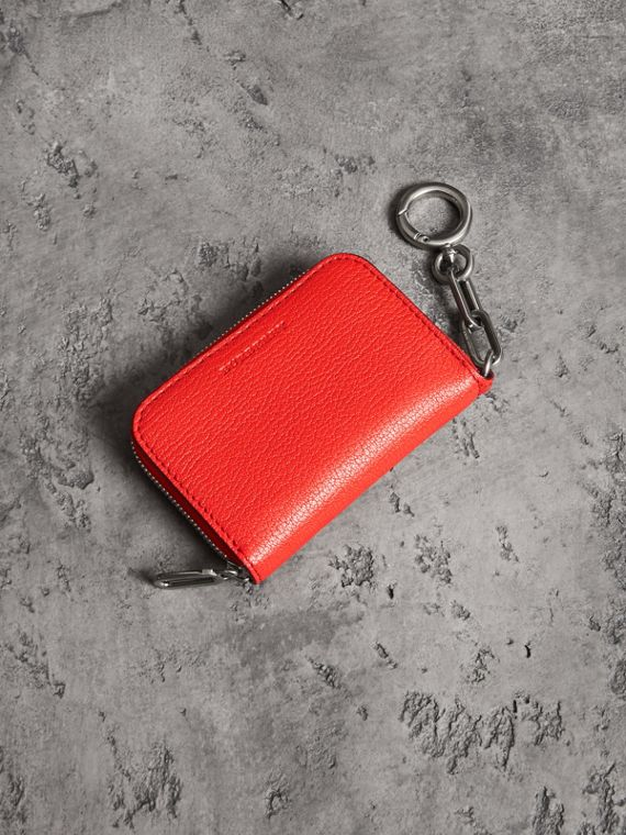 Link Detail Leather Ziparound Wallet in Bright Red