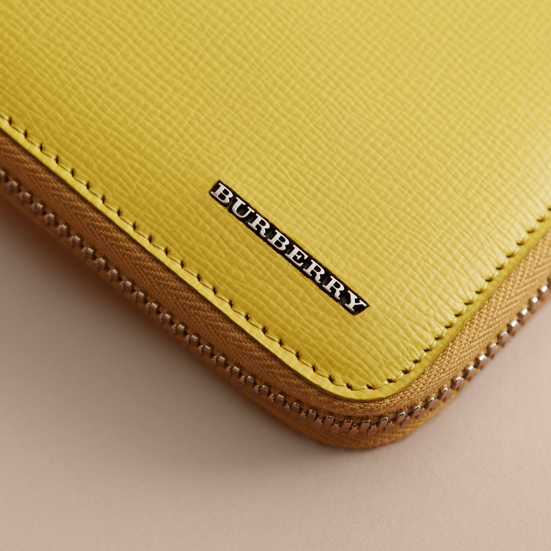 London Leather Ziparound Wallet in Bright Citrus | Burberry - gallery image 2