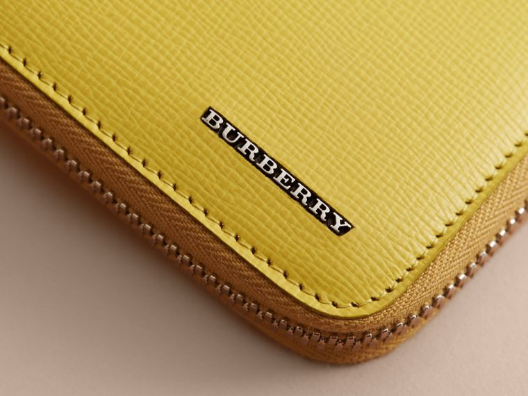 London Leather Ziparound Wallet in Bright Citrus | Burberry - cell image 1